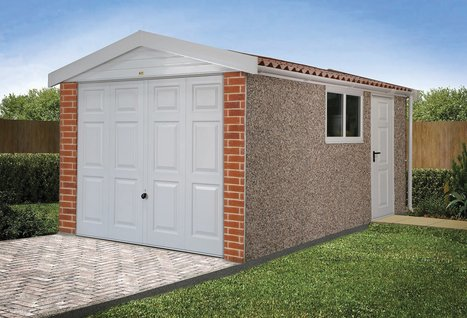 RWH concrete garages 01384 864858 apex 15 single with upvc fascias , brick front posts and optional steel access door